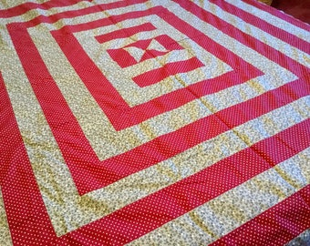 Maroon & Gray Quilt Top, Unfinished Vintage Graphic Bedspread