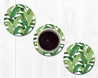 Coasters for Drinks Drink Coaster Banana Leaf Coasters Hostess Gift New Home Gift Housewarming Gift Tropical Coasters Best Friend Gift Green
