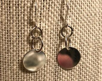 Silver Plated Disc Drop/Dangly Earrings
