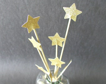 Set of 8 Shimmering Gold Or Silver Stars Cake Toppers Floral Toppers Four Sizes