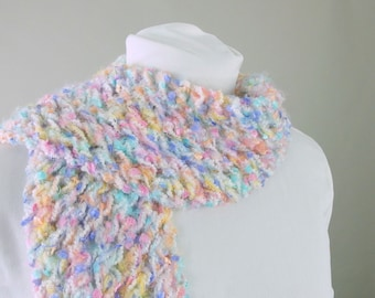 Bright Pastel Fairy Kei Rainbow Fringed Handknit Lace Scarf
