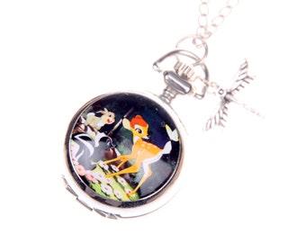 Bambi Necklace, Bambi Pocket watch, Deer Necklace, Deer watch, 2222m