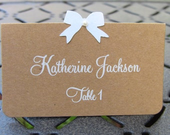 Customize Your Color, Set of 10 Wedding or Bridal Shower or Baby Shower or Birthday Party Place Cards, Kraft, White Name Printing