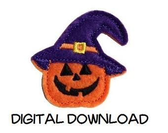 INSTANT DOWNLOAD Pumpkin Witch Feltie Embroidery Design File