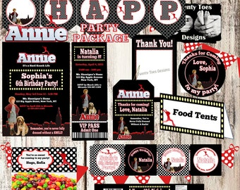 ORIGINAL ANNIE PARTY Package, Personalized, Includes Invite, Banner, Food Tents, Thank You, Cupcake Toppers, Bottle Wrappers, Welcome Sign