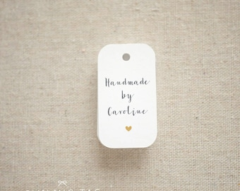 Handmade By Personalized Gift Tags - Handmade with Love Tags - Etsy Product Tags - Etsy Shop Labels - Set of 30 (Item code: J563)