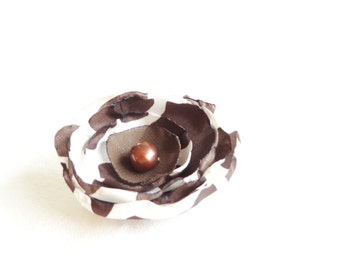 Brown Giraffe Print Flower - Clip or Headband - Ready to Ship