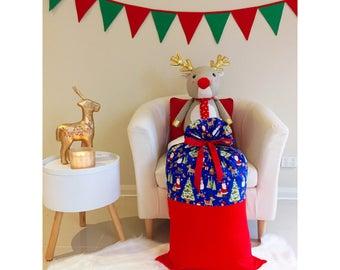 Handmade Christmas Blue Santa Sack