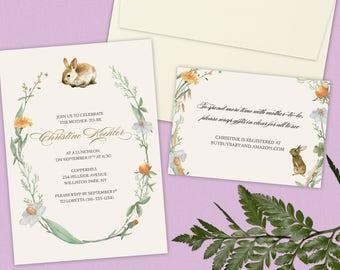 Baby Shower Invitation - Bunny and Foliage - Gender Neutral - DESIGN DEPOSIT