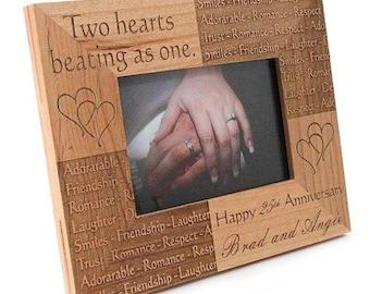Custom designed laser etched wooden picture frame