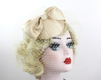 Bridal Veil, Women's Bow Hat, Bridal Fascinator, Champagne Wedding Veil, Blusher Veil, Birdcage Veil, Satin Bow, Handmade Wedding Veil