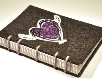 """Inspirational Journal and Sketchbook - Handmade, coptic bound, felt and inspired heart, 4 x 6"""" size"""