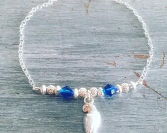 Bracelet in silver and Swarovski Parrot bird