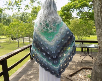 Hand Crocheted Virus SHAWL Mint, Pistachio, White Silver Grey Charcoal Mint