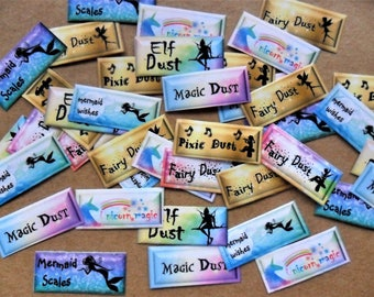 Fairy, mermaid, pixie, elf, unicorn, magic dust mini bottle labels set of 40, 8 designs 5 of each sticker. Magical mix  paper, glitter craft