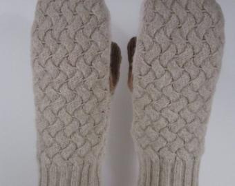 Childrens Lined Shrunken Wool Sweater Mittens (M14)