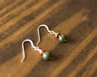Jade & Red Jasper Earrings