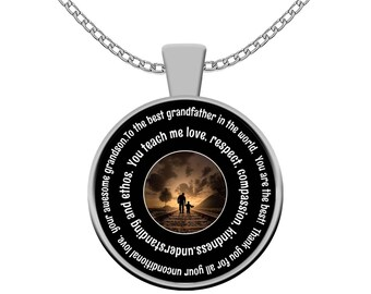Grandfather necklace,from grandson,pendant,To the best grandfather in the world,thank you for your unconditional love.round pendant necklace