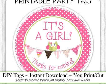 Instant Download - It's A Girl Baby Shower Printable Party Tag, Owl Cupcake Topper, Owl with Bunting, DIY, You Print, You Cut