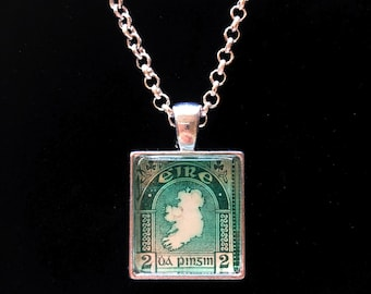 Irish Postage Stamp Necklace | Irish Gift | Vintage Ireland | Irish Jewelry