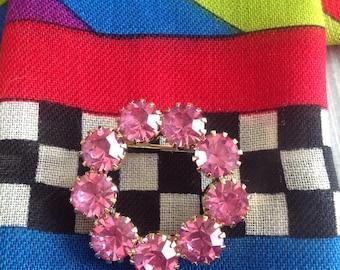 Pink Vintage Circle Brooch