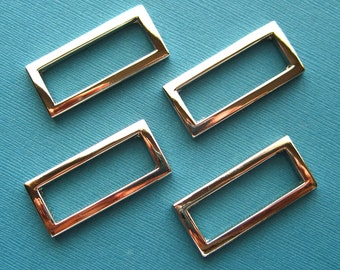 4 D-Rings in Nickel Rectangular 1 1/2 Inch