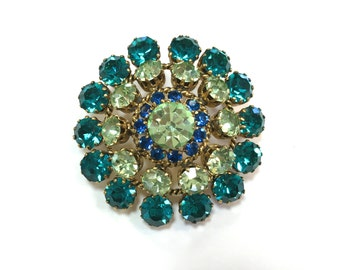 60s Aqua Rhinestone Brooch | Green Circle Pin