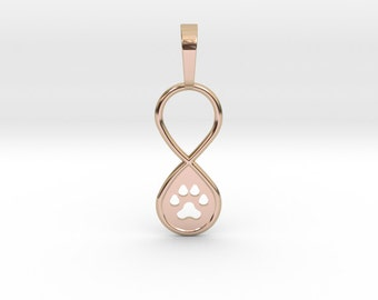 Paw Print Infinity Pendant | 3D Printed Jewelry Charms & Pendants