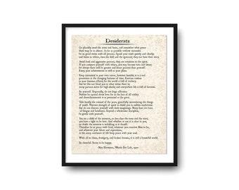 Desiderata Poem Art Print, Desiderata Poetry Art, Inspirational Print, Literary Gift, Wall Art, Grad Graduation Gift, Inspirational Quote