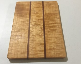 Handcrafted Hardwood Cutting Board - Curly Maple & Bloodwood