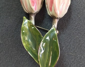 Two Tulips Brooch-Signed KC.  Free shipping