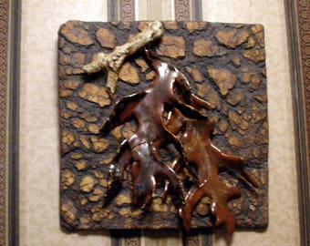 """Wall Hanging - Ceramic Tile - 8"""" x 8"""" in. Ceramic Wall Sculpture - Fall Forest - Handmade Pottery Stoneware"""