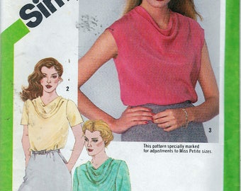 """Vintage 1980 Simplicity 9765 Blouse With Front Sewing Pattern Size 12 Bust 34"""""""