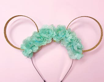 Mint Flower Crown and Gold Glitter Ears