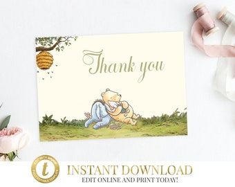 Classic Pooh Baby Shower Thank You Card, Winnie The Pooh, Pooh Thank You, Pooh Baby Shower, Classic Pooh Birthday, Printable, Editable