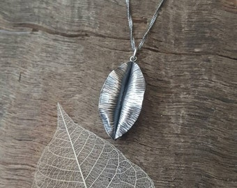 Handmade Sterling silver hand forged leaf pendant/necklace - nature, botanical