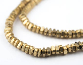 200 Brass Triangle Heishi Beads: Ethnic Metal Beads Metal Spacer Beads Heishi Shaped Beads Handmade Brass Beads (MET-HSH-BRS-589)