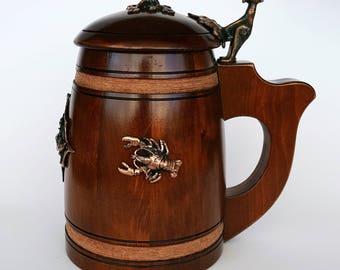 Impressive Handmade Wooden Beer Mug With Lid - Oak Wood Pint Beer Stein Tankard With Stuning Lobster Ornaments Made From Metal