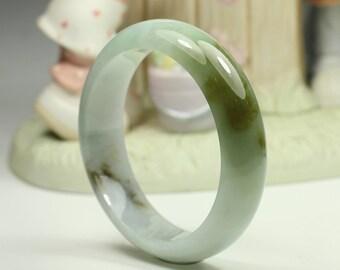 Natural Jade Bangle - 58.51mm White and Brownish Green (Grade A Jadeite Jade)