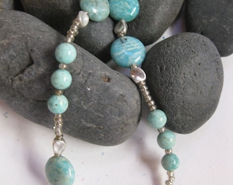 Turquoise agate and silver bead necklace
