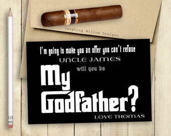 GODFATHER Card Will You Be My Godfather Card PRINTABLE Godfather Cards Customized Offer You Can't Refuse PERSONALIZED