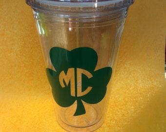 Personalized Shamrock St. Patrick's Day Tumbler- Four Leaf Clover Tumbler- Monogrammed St. Patrick's Day Tumbler- Custom Shamrock Cup