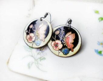 Altered Metal Earrings | Vintage Cloisonne Metal Discs | 1970s Art Nouveau Revival | Pink Butterflies & Flowers | Sterling Silver Wires