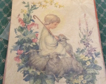 Wonderful Sheep Herder Child and Lamb Print