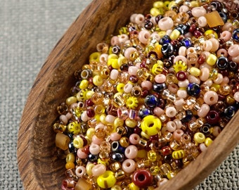 20g Czech seed beads Mixed pink yellow seed beads MIX-39 Czech rocailles Seed bead soup seed beads