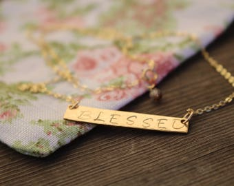 Blessed Personalized Bar Necklace