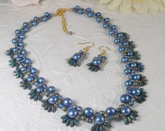Woven Pearl Necklace and Earrings Set Blue and Gold with Fringe