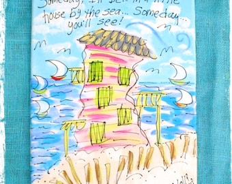 Beach House Painting Abstract Style with Cute Poem YelliKelli