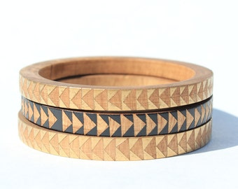 Beth D. Skinny Bangle Set/ Wood Bracelet Trio/ Stacking Bangles/ Painted Triangle Designs/ Metallics/ xs-xl