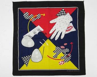Vintage 80s Art Bandanna Post Modern Pop Handkerchief New Wave